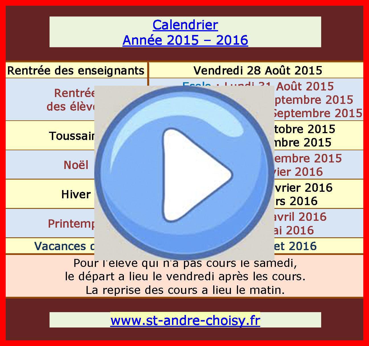 Saint Andre Telechargez Le Calendrier 2015 2016 Dates De Rentree